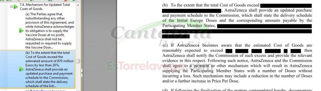 Captura de pantalla con el precio censurado del acuerdo entre la UE y AstraZeneca
